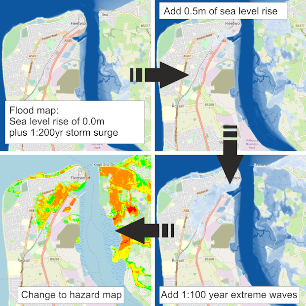 Example Mapviewer scenarios: flooding extents and hazards